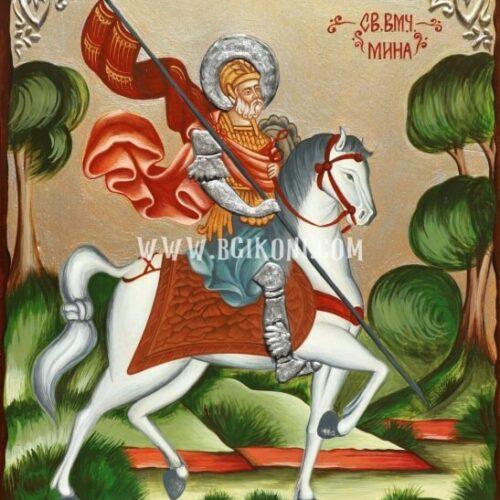 Икона на Свети Мина на кон