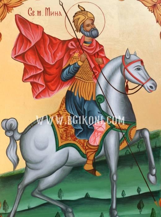 Репродукция Свети Вмч Мина на кон